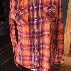 Pearl snap down flannel shirt size medium